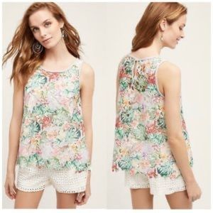 Anthro Inari Tropical Leaves Floral Lace Tank